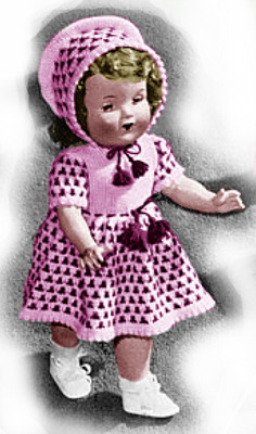 Product picture 18 Inch Doll Dress and Bonnet Knitting Patterns (#101)