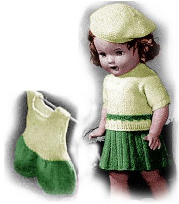 Product picture Sweater, Skirt and Step-In Knitting Patterns 18-Inch Doll